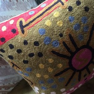 Anthropologie Accents - Wool embroidered ethnic boho throw pillow anthro